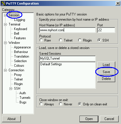 Saves Putty Session for SSH Port Forward to MySQL